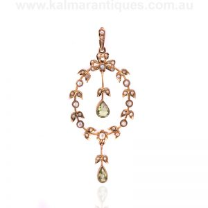 Antique peridot and pearl pendant from the Edwardian era