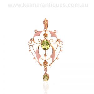 Antique peridot pendant made in the Edwardian era in the early 1900's