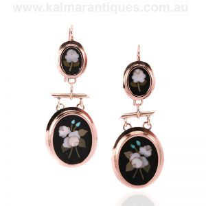 Antique double drop pair of pietra dura earrings in rose gold