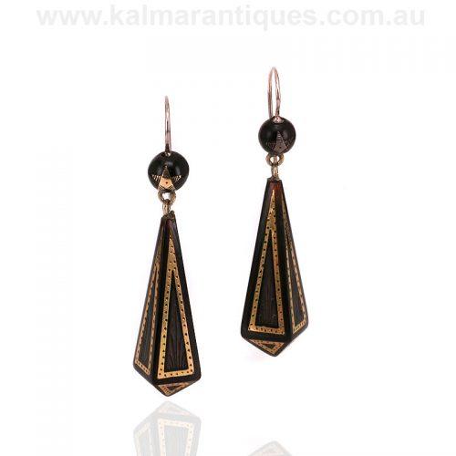 Victorian era antique double drop pique earrings