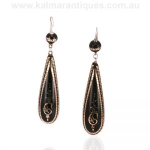 Very long antique pique drop earrings dating from the Victorian era