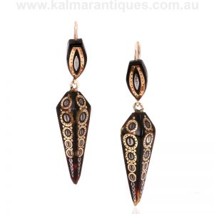 Antique pique drop earrings from the Victorian era