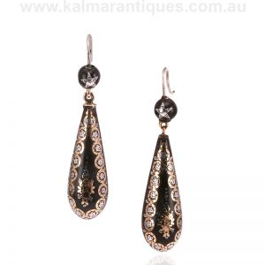 Victorian era antique pique drop earrings