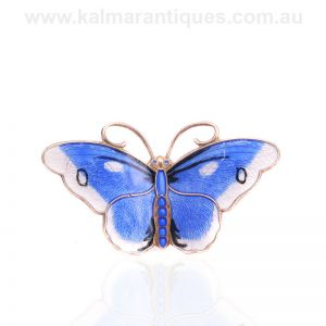 Vintage blue and white sterling silver enamel butterfly by Hroar Prydz