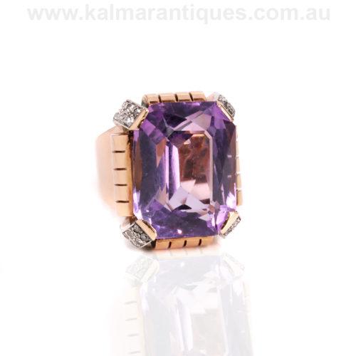 Rose gold Retro amethyst and diamond ring
