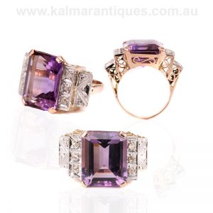 Fabulous amethyst and diamond ring from the Retro period