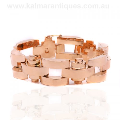 Stylish 18ct rose gold Retro era bracelet from the 1940's