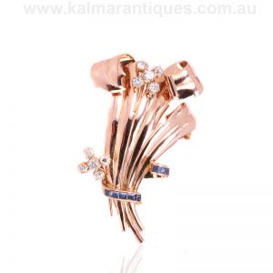 18 carat rose gold sapphire and diamond brooch from the Retro era