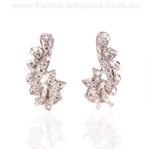 18ct white gold Retro diamond earrings from the 1940's