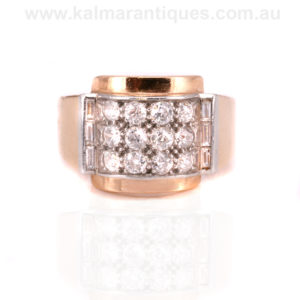French Retro diamond ring made in the 1940's