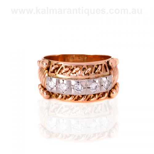 French 18ct rose gold and platinum Retro era diamond ring