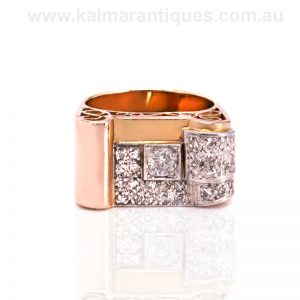 18ct gold diamond ring from the Retro era of the 1940's