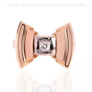 18 carat rose gold diamond ring made in the Retro era of the 1940's