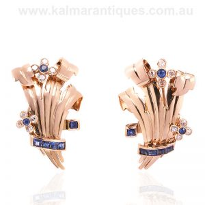 18 carat rose gold sapphire and diamond earrings from the Retro period