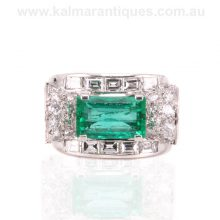 Fabulous Colombian emerald and diamond ring from the Retro period
