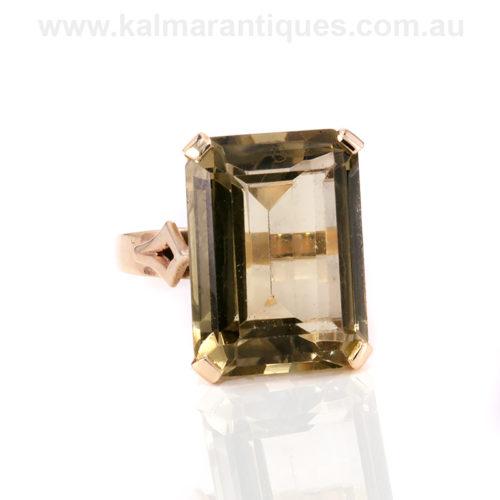 Retro lemon quartz ring in rose gold