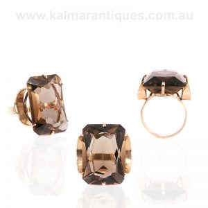 Vintage smoky quartz ring made in London in 1975