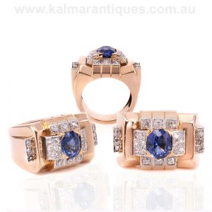 Fabulous sapphire and diamond ring made in the Retro era