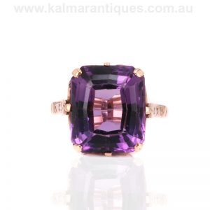 Amethyst ring made in the 1960's in a fabulous design
