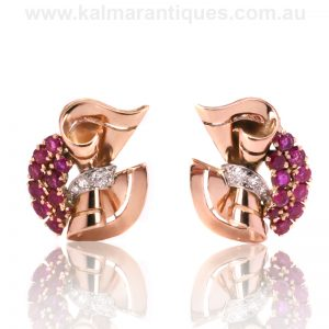 18ct rose gold and platinum Retro era ruby and diamond earrings