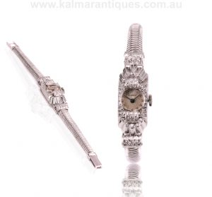 Retro era 18ct white gold diamond set watch from the 1950's