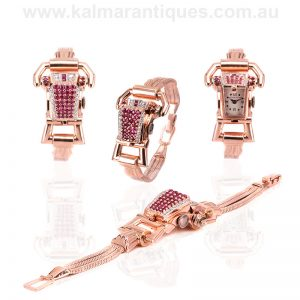 Retro era rose gold ruby and diamond watch by Lucien Piccard