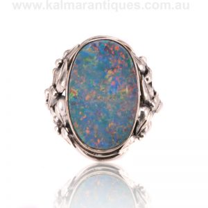 Sterling silver opal doublet ring attributed to Rhoda Wager