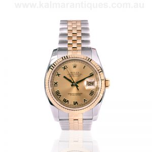 Gents 18ct gold and steel Rolex Datejust 116233 with box and papers.