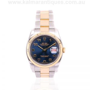 18ct gold and steel Rolex Datejust 116233 with the roulette date wheel
