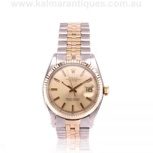 18 carat gold and steel Rolex 1601 with the rare Sigma dial