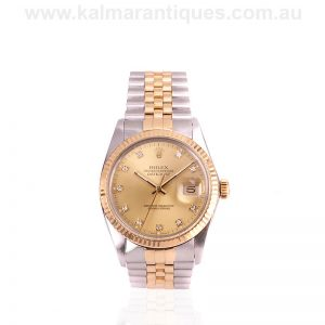 18 carat gold and steel vintage Rolex Datejust 16013