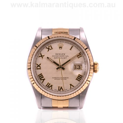 18ct gold and steel Rolex Datejust reference 16233 Pyramid dial watch