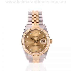 Gents gold and steel diamond dial Rolex reference 16233