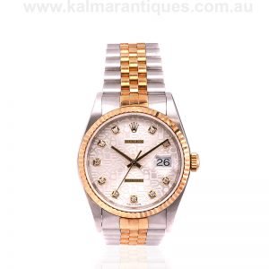 18ct and steel gents Rolex with diamond jubilee dial
