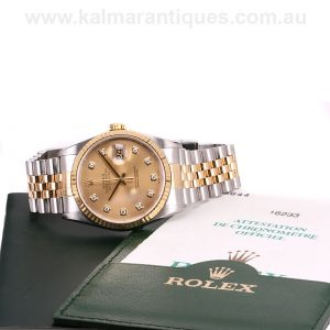2002 Diamond dial Rolex Oyster Perpetual Datejust model 16233