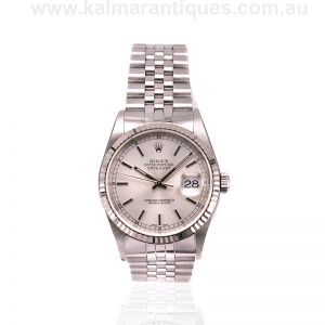 Stainless steel with white gold bezel Rolex Datejust reference 16234