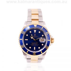 Blue dial Rolex Submariner reference 16613 with box and papers