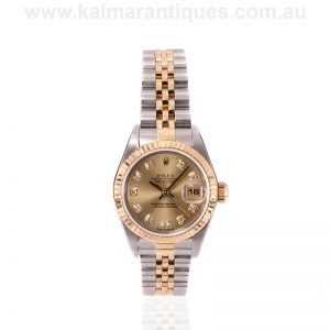 Ladies gold and steel diamond dial Rolex Oyster Perpetual Datejust 69173