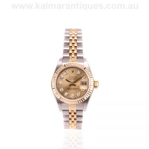 Ladies 18 carat gold and steel diamond dial Rolex 69173g
