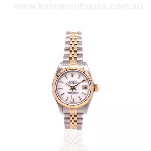 White dial ladies 18 carat and steel Rolex Datejust 69173