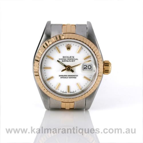 Ladies Rolex Datejust 69173 white dial