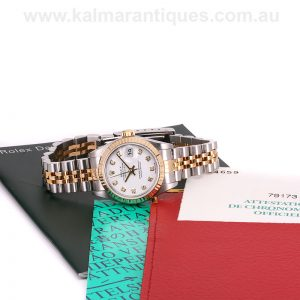 Ladies gold and steel diamond dial Rolex model 79173