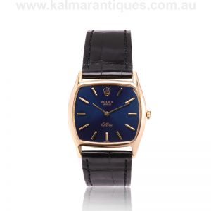 18 carat Rolex Cellini reference 3805 with a vivid blue dial