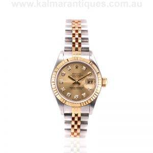 Ladies 18 carat gold and steel diamond dial Rolex Datejust reference 69173