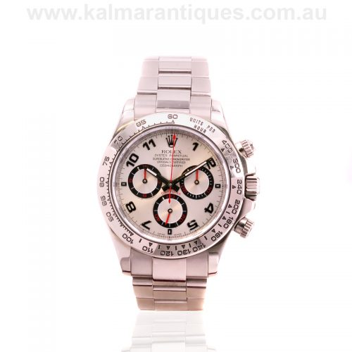 18ct white gold white dial Rolex Daytona reference 116509