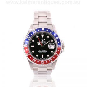 Stainless steel Rolex GMT Master II 16710 Pepsi bezel