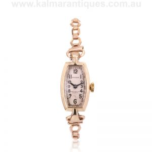 Ladies 9ct rose gold Art Deco Rolex made in 1932