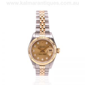 Ladies gold and steel diamond diamond Rolex reference 69173
