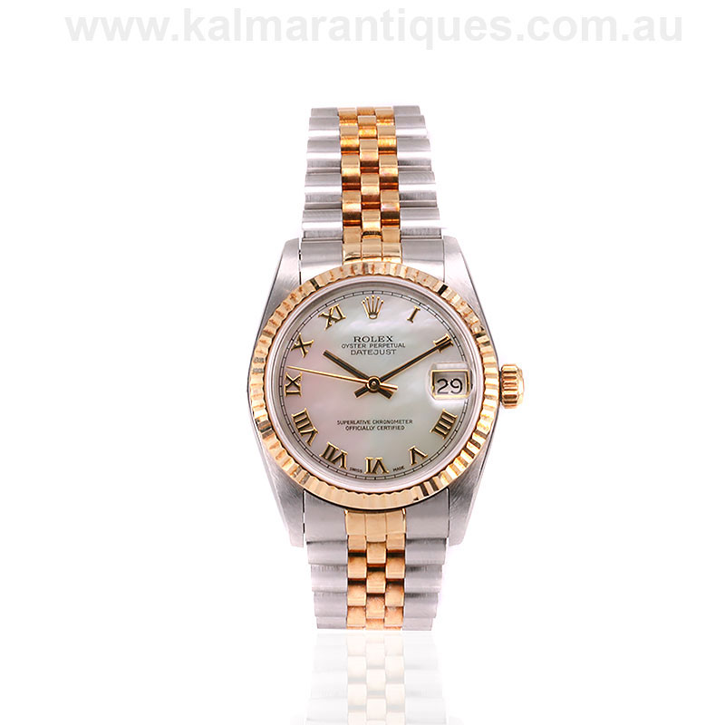 Gold and steel mother of pearl dial Rolex Datejust reference 68273