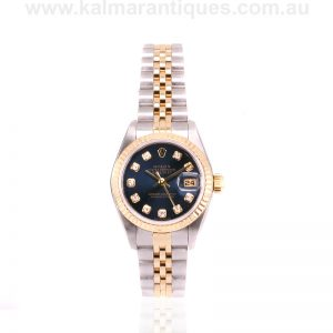 Blue diamond dial ladies Rolex Oyster Datejust reference 69173